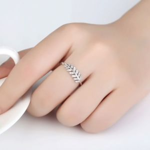 Rhinestone Leaf Adjustable Ring